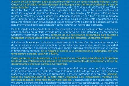 Comunicado COSTA CRUCEROS Coronavirus